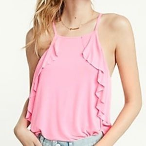 NEON pink side ruffle tank from EXPRESS NWT